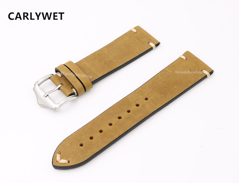 20 22 մմ Cowhide Կաշի թեթև շագանակագույն Suede VINTAGE Ձեռքի ժամացույց ժապավենով ժապավենով արծաթե լեհական քորոց խոզանակ Rolex Omega IWC Tag