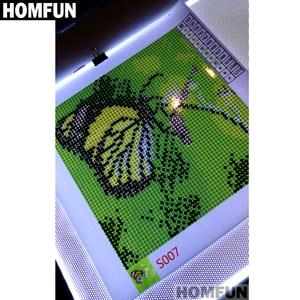 Image 5 - Ultrafinos 3.5mm A4 HOMFUN LED Light Tablet Pad Aplica a UE/REINO UNIDO/AU/EUA/USB plugue Diamante Bordado Pintura Diamante do Ponto da Cruz