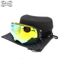 Snowboard Ski Goggles Double Layers Anti fog Lens Big Vision Photochromic UV400 Mask Winter Snow Snowmobile Eyewear Original Box