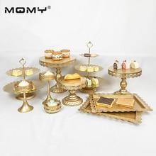 10 PCS/ Set Gold Tray Metal Crystal 3 Tier Cupcake Round Wedding Cake Stand