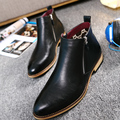Spring Fall Men Casual Shoes Trend Martin Genuine Leather Lower-cut For Workers Men Boots Flat Thick Bottom Side Zipper Shoes
