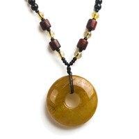 Women Necklace Pendant Jewelry Unique Brazil Natural Titanium Yellow Gold Rutilated Quartz Crystal Round Pendant Bead