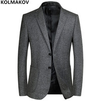 2018 New Men's Blazers Male Autumn Winter mens Classic Grey Blazer Jackets Homme Business Luxury Blazers for gentlemen M 3XL
