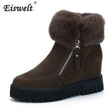 Eiswelt/женские зимние ботинки модные оказалось-над мехом ботильоны на молнии Теплые Сапожки женские плюшевые ботинки с мехом # ZQS131