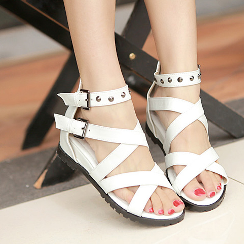 ff7ec7262b7 Summer sandals platform wedges sandals white open toe gladiator sandals  flat low-heeled plus size woman shoes free shipping