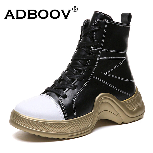 207834830f1 ADBOOV Autumn New High Top Sneakers Women Lace Up Fashion Ankle Boots PU  Leather Street Casual Shoes Ladies Calzado Mujer
