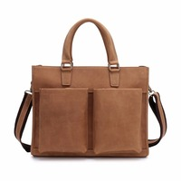 High Grade Natural Crazy Horse Leather Men Handbags Luxury Brand Designer Shoulder Messenger Bag Vintage Casual