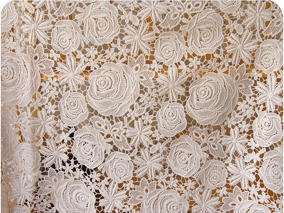Lace Fabric with retro roses and daisy floral, off white crocheted net hollow out lace fabric for sewing supplies