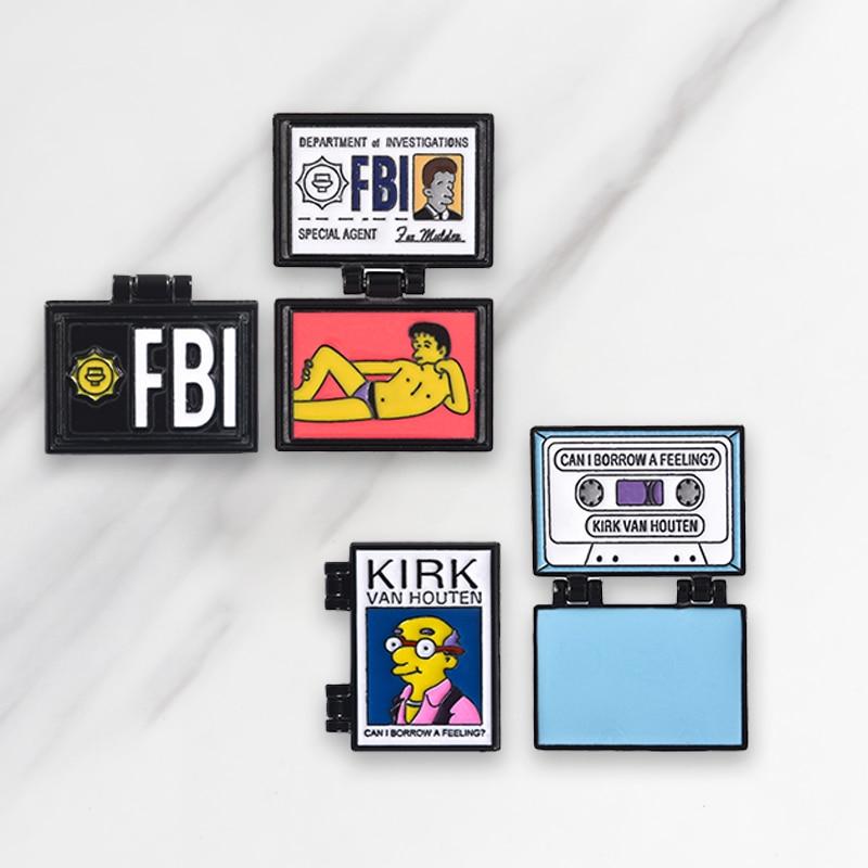 X-Files FBI Fox Mulder Flip Cover Enamel Brooch Denim Clothing Backpack Lapel Pin Badge Jewelry Gift for fans