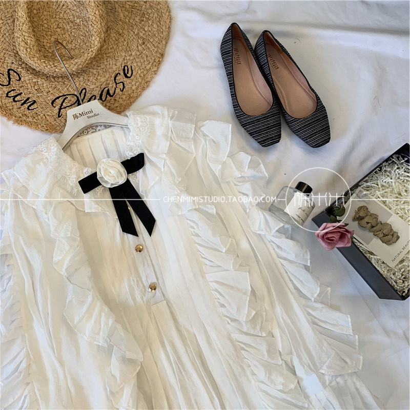 2019 Doux Blouse Fleur Lin Beige De Chemise Tops Fée Cravate Longues Nouveau À Coton En Mode Dames Printemps Blanc Femmes Arc Manches QdCtxshBr