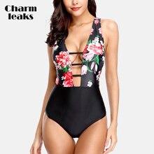 цена Charmleaks Women's Deep V Neck One Piece Swimwear Strappy One-Piece Swimsuit Floral Print Sexy Bathing Suits Monokini в интернет-магазинах