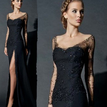 все цены на Sexy Long Sleeves Deep V-Neck Black Sheath High-Slit Evening Dress For Women Formal Gown Lace Evening Gowns онлайн