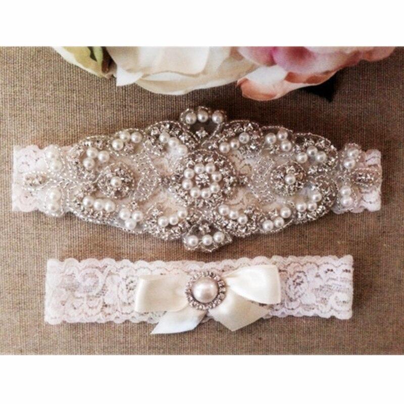 Wedding Bridal Garter Set White Lace Crystal Rhinestone