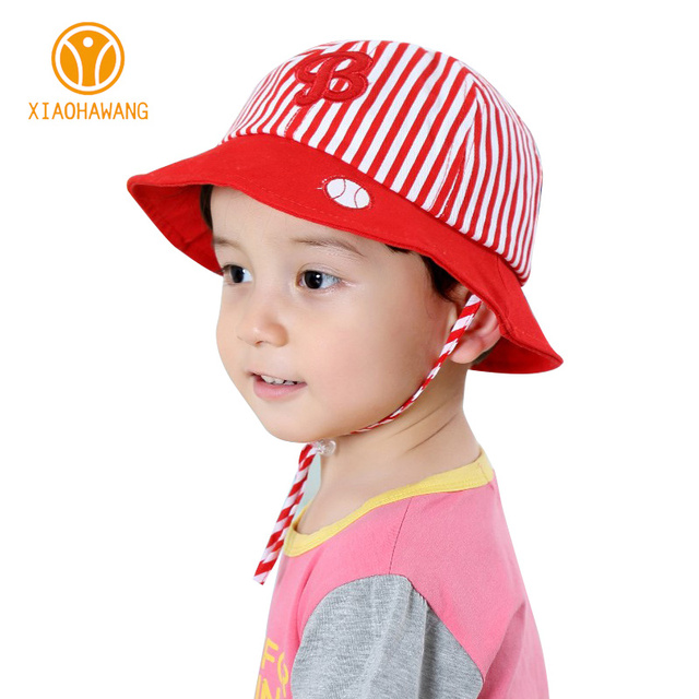1c75480bf39 Striped Baby Hats Cotton B Letter Girls Bucket Hat Cute Infant Sun Caps  Beanies Spring Summer