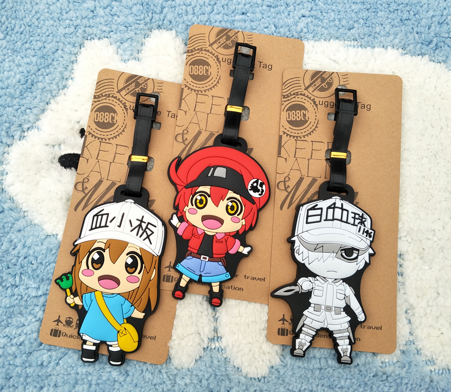 IVYYE Cells At Work Anime Travel Accessories Luggage Tag Suitcase ID Address Portable Tags Baggage Labels Gifts New