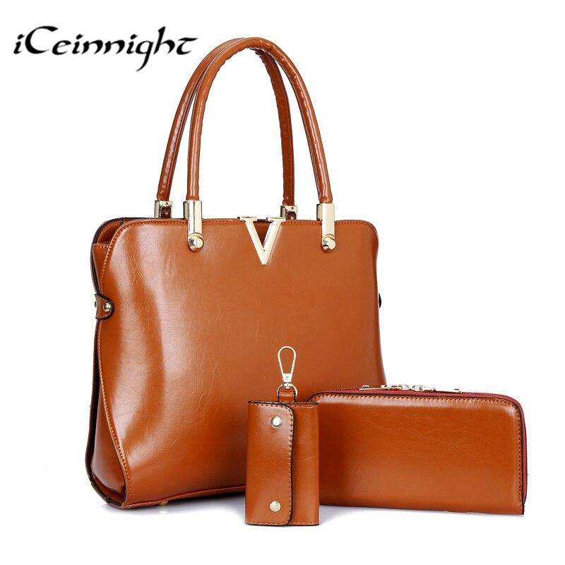 iCeinnight 3 PCS Set Luxury handbags women bags designer Purses Shoulder Handbag Pu leather Totes Composite
