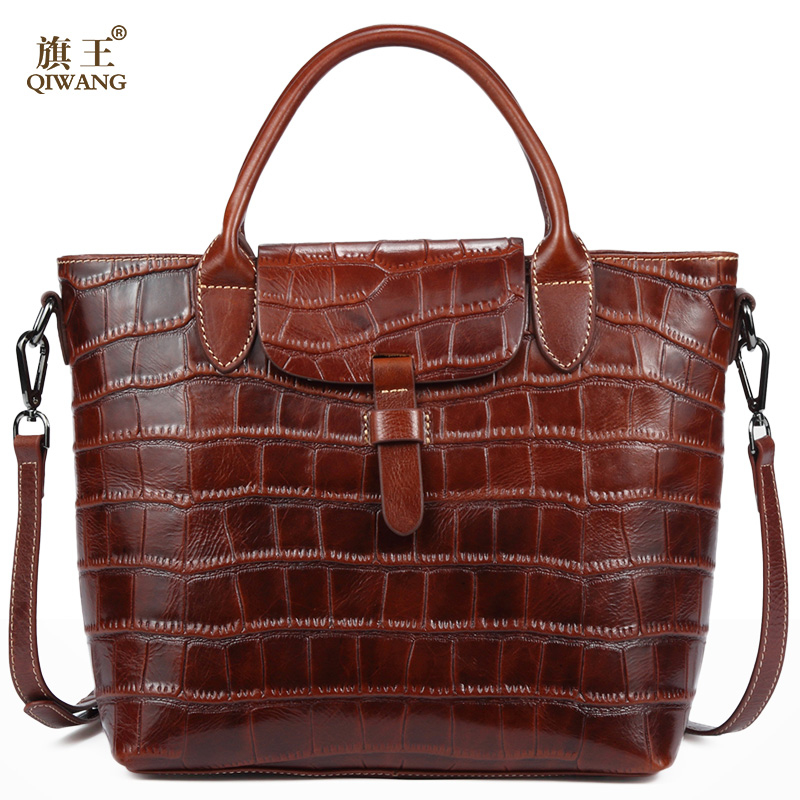 Qiwang Brown Classsic Women Bag 100% Genuine Leather Women Crocodile Handbag Oil Wax Leather Women Bag Very High Quality xoomz for iphone 7 crocodile genuine leather coated plating pc shell brown