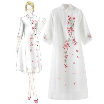 Chinese Traditional Embroidery Flower A-line Evening Dress Elegant Female Mandarin Collar Cheongsam High Quality Qipao Vestidos
