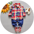 2016 spring gentleman Children's clothing sets baby boy denim suit set Kids clothing set plaid long sleeve shirts+trousers/jeans