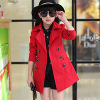 2018 Autumn Children Trench Coat Solid Teenage Girls Jacket Girl Spring Clothes