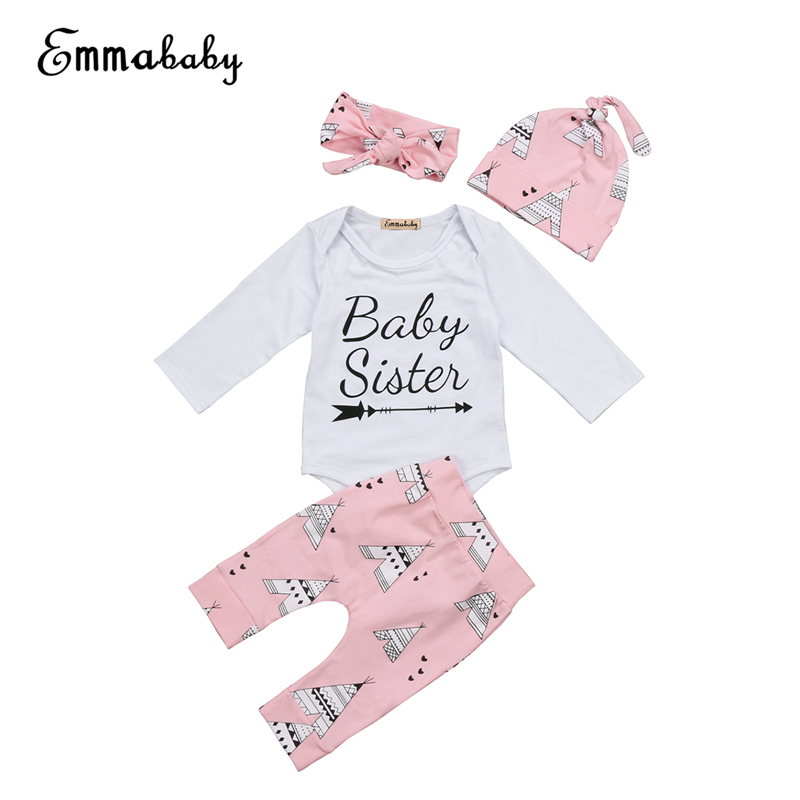 Fall 4PCS Set Baby Girl Clothes 2017 New Hot Bebes Newborn Baby Girl Outfits Clothing Set Warm Girs Tops Bodysuit+Pants Leggings
