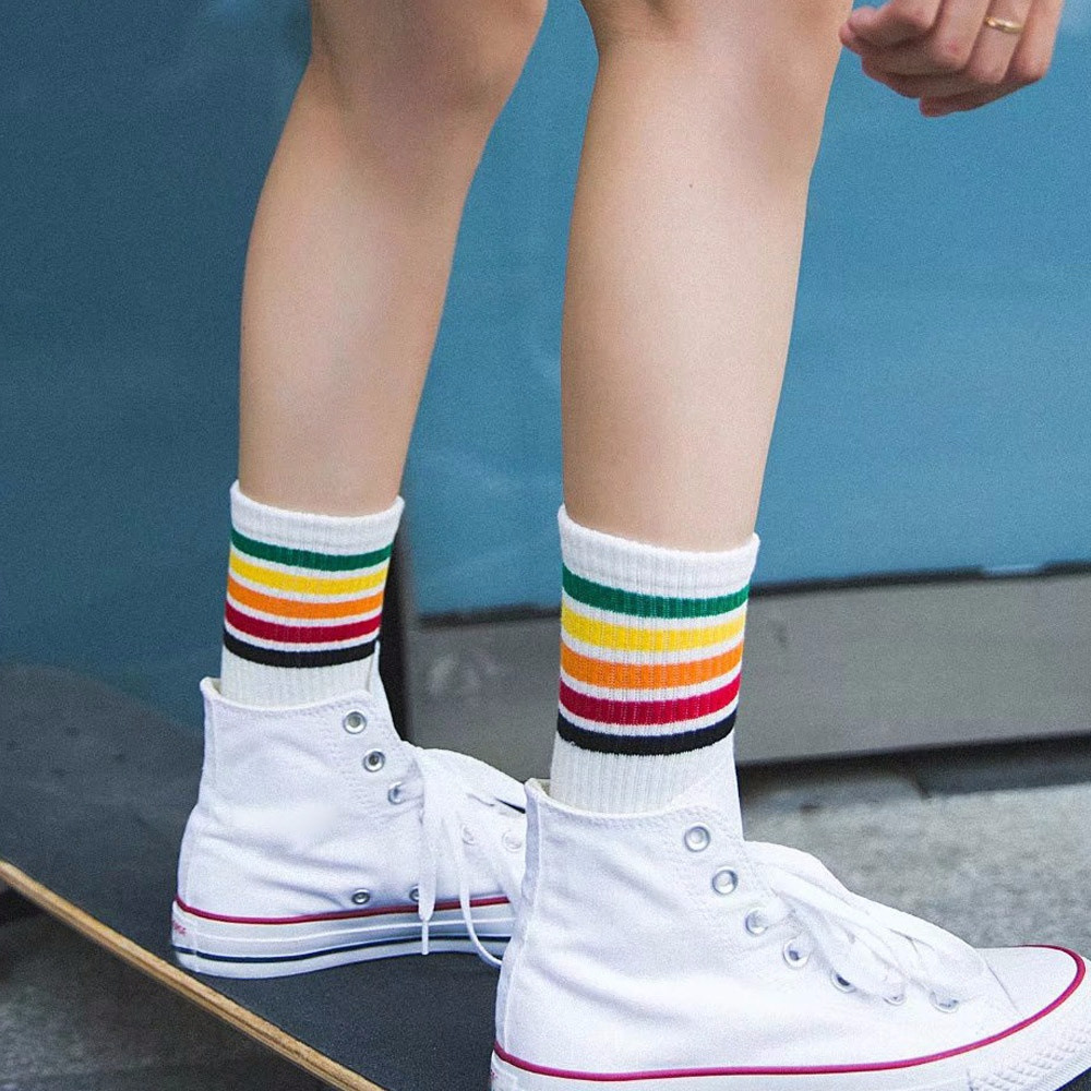 New Spring Summer Harajuku Cool Skateborad Short Rainbow   Socks   Art Women Fashion Cotton Cocks Hipster Stripe Ankle   Socks   Female