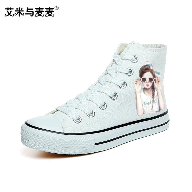 Fashion Hand Painted White Sneakers for Women 2018 Summer Shoes High Top Canvas Shoes Cute Skate Shoe Ladies Trainers Girls