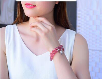 Wholesale Genuine Natural Red Strawberry Quartz Crystal Round Bead Stretch Charm Bracelet Women Femme