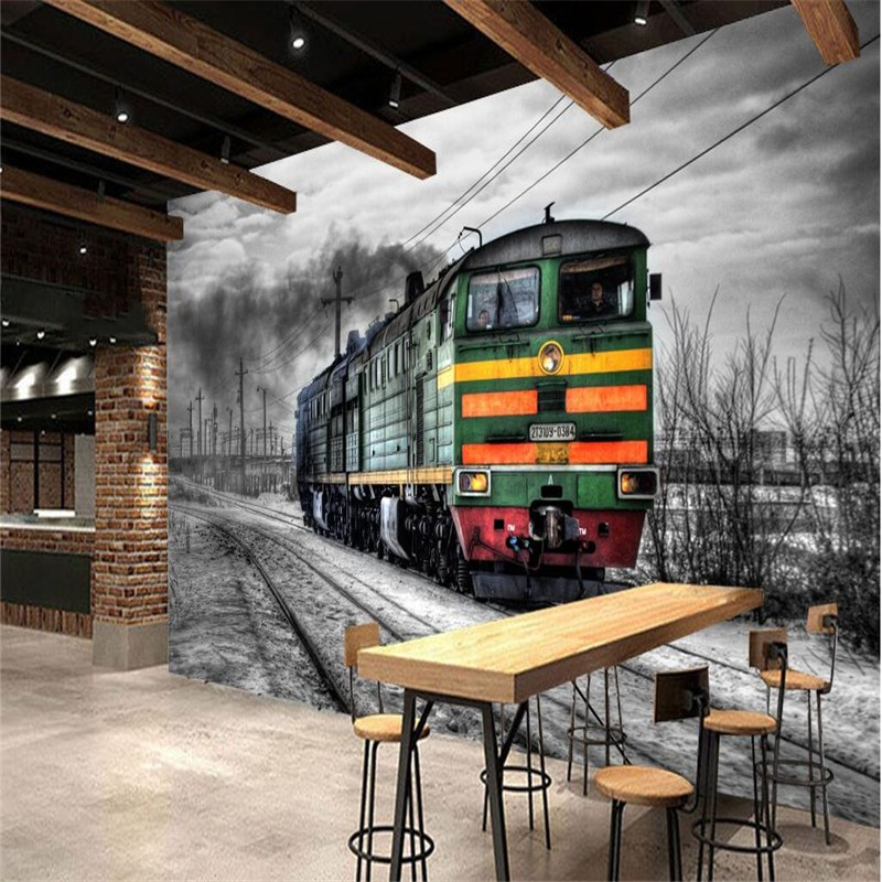 Beibehang Large Custom Wallpapers Mural Retro Tale Black And White Steam Train Cafe Bar Mural Background Wall Wallpaper