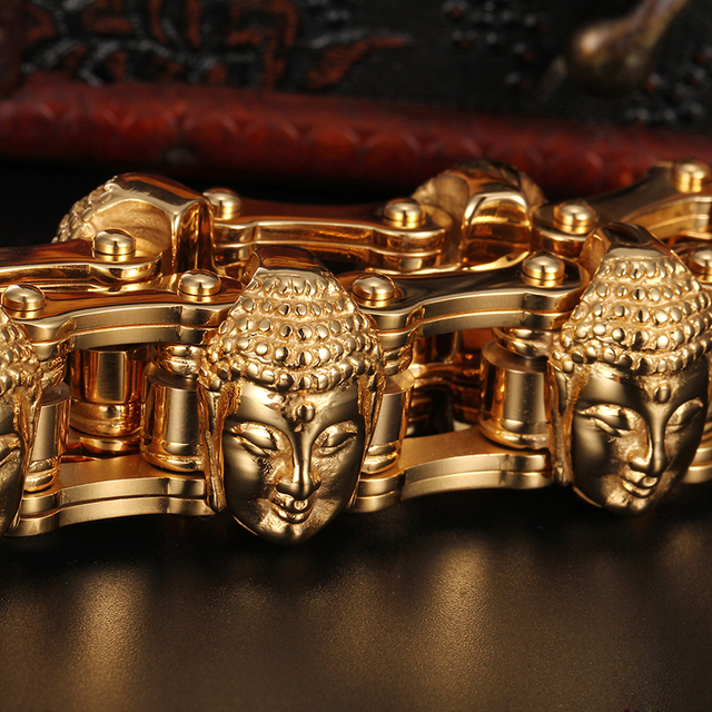 Cool Jewelry Heavy 155g Gold Stainless Steel Biker Motorcycle Chain Mens Gifts Buddha Head Bracelet 8.8 20mm