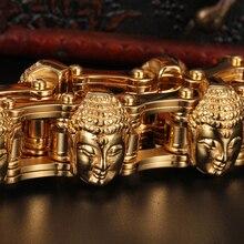 Fajna biżuteria ciężka 155g złota ze stali nierdzewnej w stylu motocyklowym łańcuch motocyklowy męska prezenty budda bransoletka z głowami 8.8 20mm