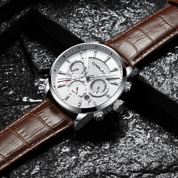 CRRJU New Fashion Men Watches Analog Quartz Wristwatches 30M Waterproof Chronograph Sport Date Leather Band Watches montre homme 5