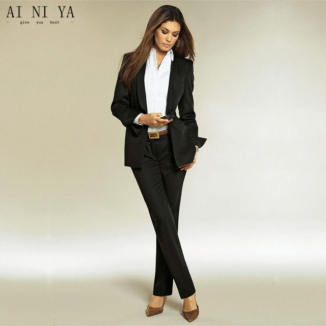 b98a5cbea29b Nero lucido Donne Affari Abiti Slim Fit Eleganti per Donna Abiti Eleganti  Pantaloni Ufficio Stili Uniformi