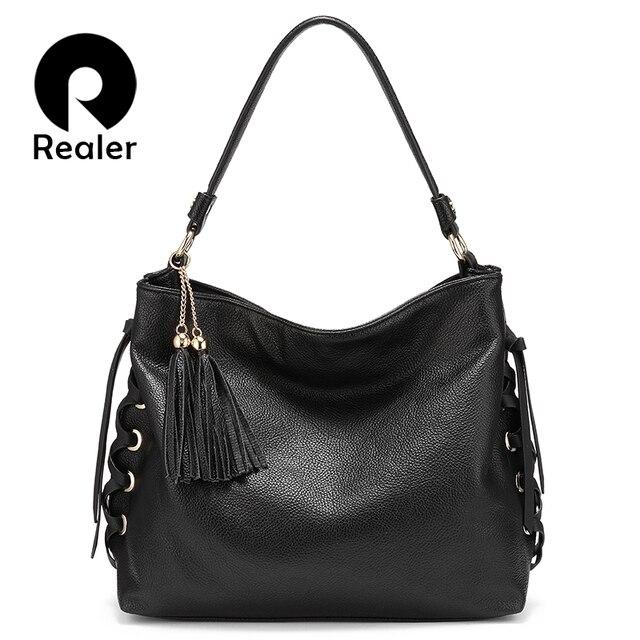 REALER сумка на плечо женские роскошные сумки Большая наплечная сумка-мессенджер женские Сумки из искусственной кожи через плечо женские брендовые