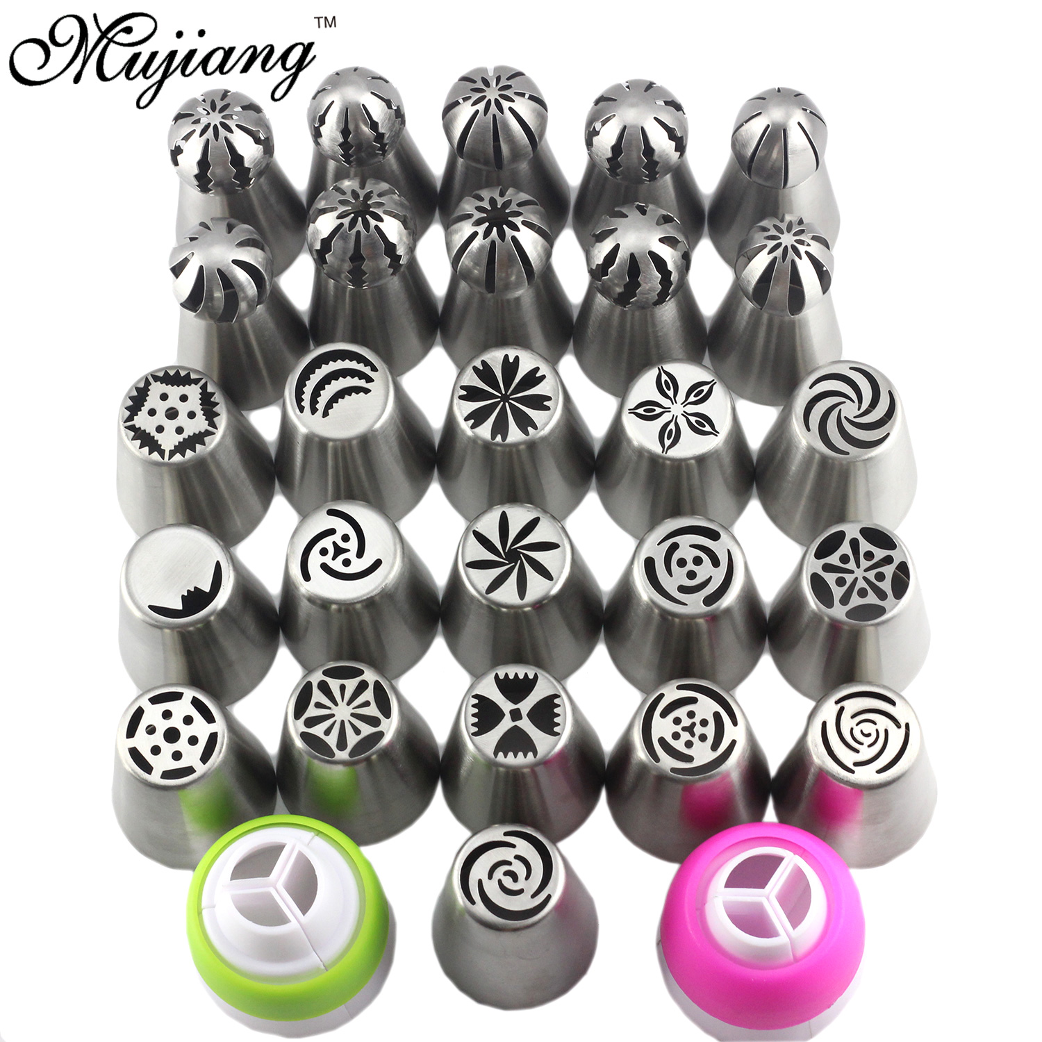 Mujiang 28 Pcs Stainless Steel Sphere Ball Russian Nozzles Icing Cream Piping Pastry Tips Cake Decorating Confectionery Tools