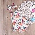 Хлопок Новорожденного Новорожденных Девочек Одежда Боди Без Рукавов Милый Пояса Комбинезон Одежда для Новорожденных Baby Девушка Наряды