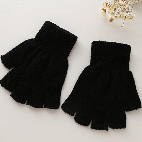 New Arrival!!! Winter Black Short Half Finger Fingerless Wool Knit Wrist Glove Warm Workout  For Women And Men 2018 Islamabad
