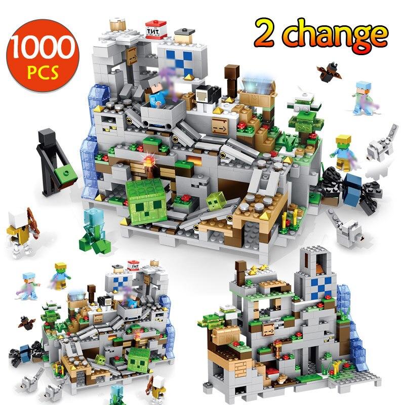 1000 piezas en mi mundo mecanismo cueva edificio bloques LegoINGLYS Minecrafted animales Alex figuras de acción de ladrillo juguetes para los niños