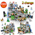 1000pcs My World Mechanism Cave Building Blocks LegoINGLYS Minecrafted Aminal Alex Action Figures Brick Toys For Children