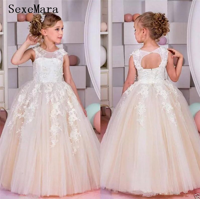 Elegant Ball Gown Flower Girls Dresses For Weddings Sheer Neck Applique Lace Tulle Children Girls Pageant Communion Gown customized ball gown 2018 fluffy flower girls dresses tulle applique lace ankle length sleeveless communion gown actual image