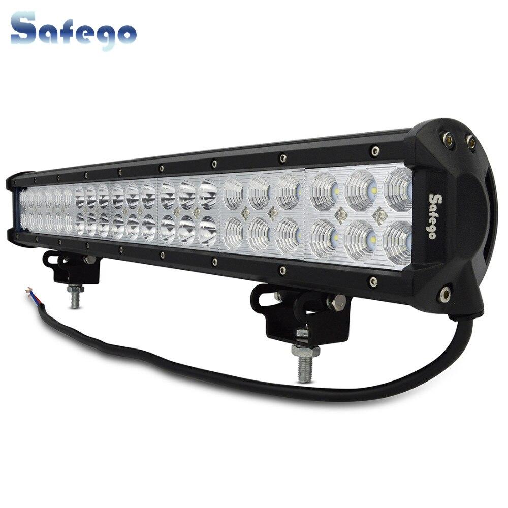 Safego 20 inch 126 W barre de lumière LED Offroad 12 V 4X4 camions tracteur ATV 126 W barre de lampes de travail LED pour voiture barre de lumière LED hors route