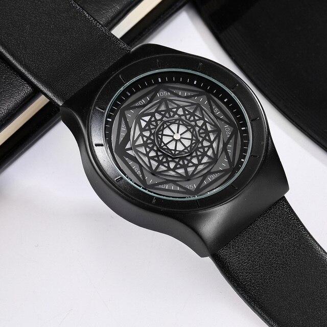 Geek Watches Men Minimalist Turntable Dial Quartz Watch Clock  Leather Mesh Band Male Wristwatch Relogio Masculino Gift For Men 3