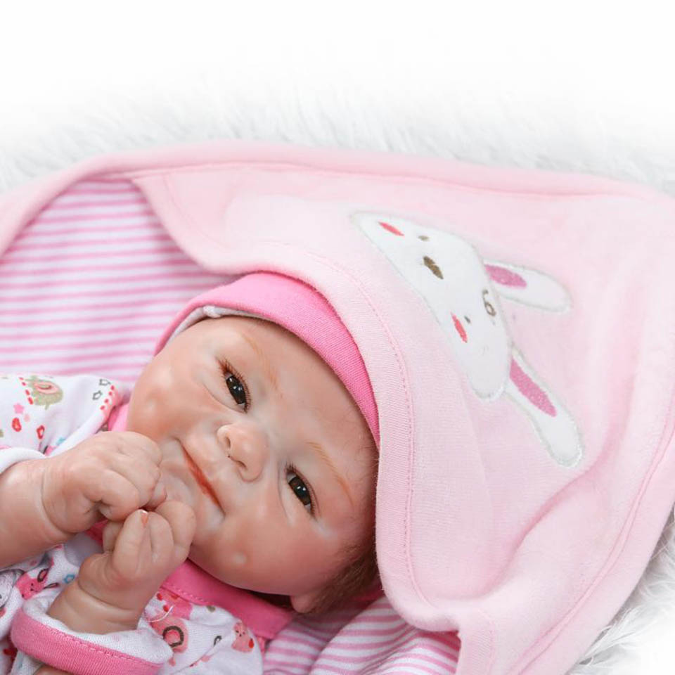 New Design Mohair Babies Reborn Dolls Handmade Soft Silicone 16'' Baby Dolls Smiling Alive bebe Newborn kids Xmas Birthday Gifts oasis mohair