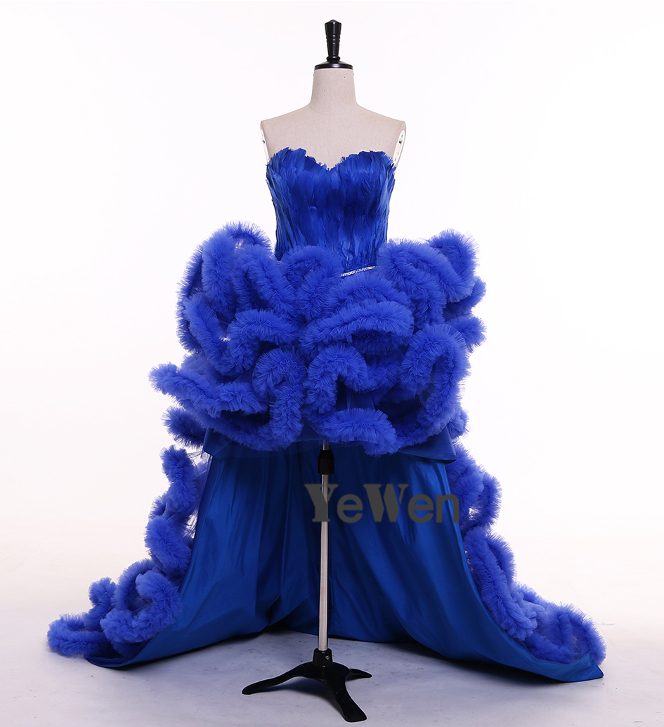 Royal Blue Black Ivory Red Champagne Front Short Long Back Sweetheart  Sleeveless Ruffles Feather Prom Dresses Evening Dress 2018 079be4043e7a