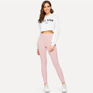 Image 5 - SHEIN High Waist Rib Knitted Solid Casual Leggings Women Spring Autumn Stretchy Fitness Midi Waist Skinny Basics Crop Leggings