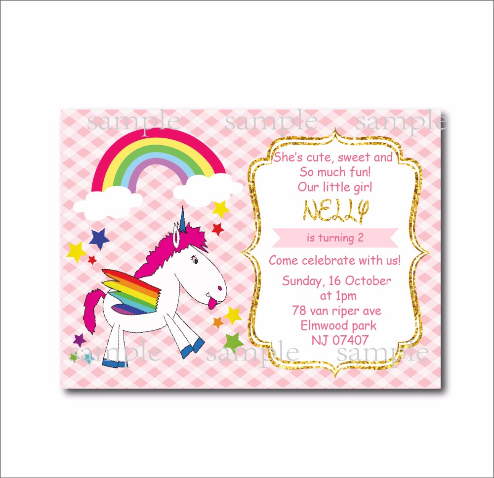 14 Pcs Lot Custom Unicorn Undangan Ulang Tahun Anak Perempuan Baby