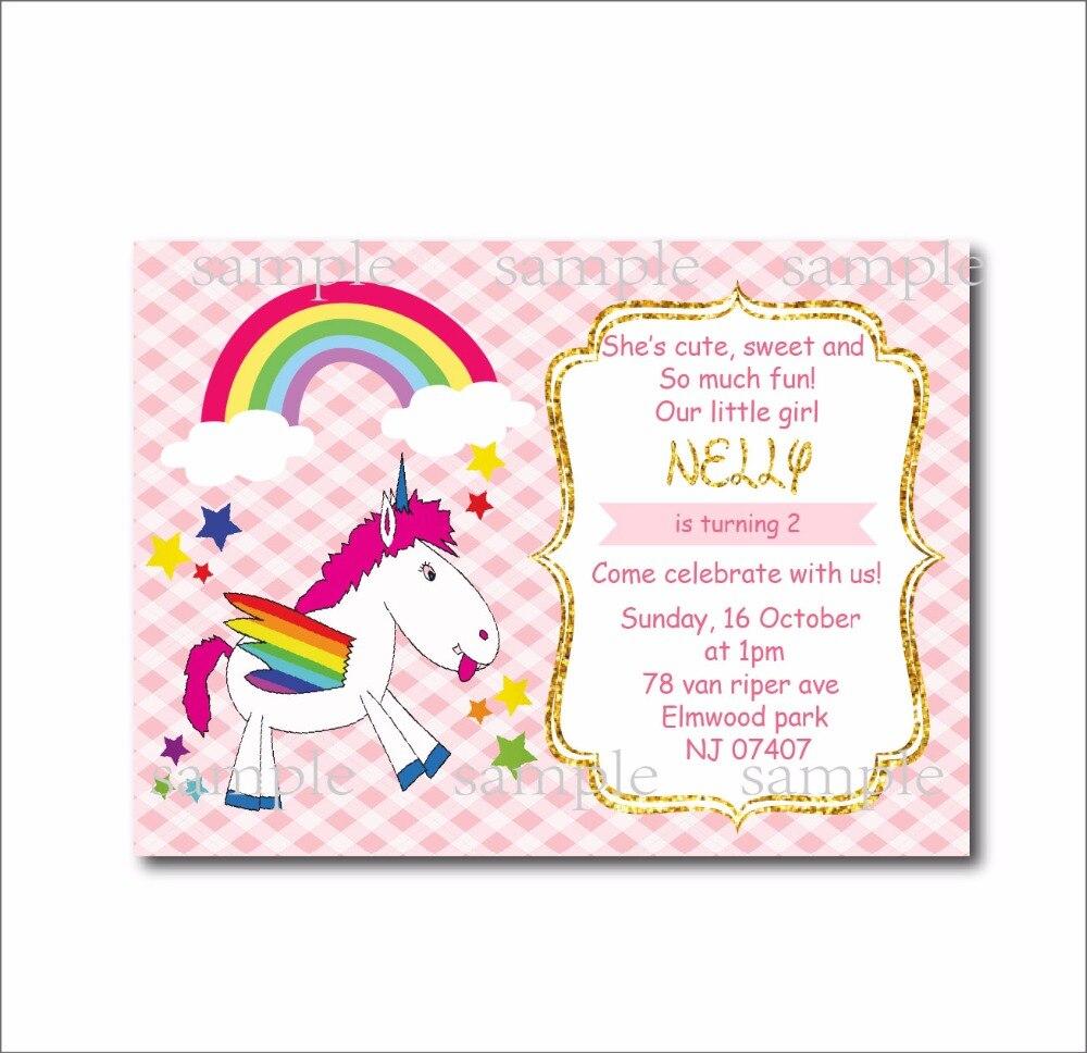 20 pcs/lot Custom Unicorn Birthday invitations Girls Baby Shower ...