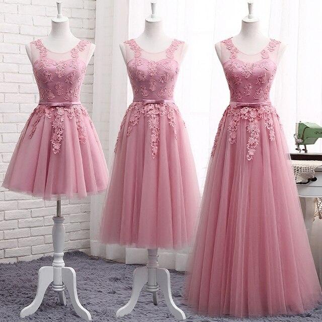 2018 Dusty Pink dama de honor vestidos sin mangas LACE Appliques ...