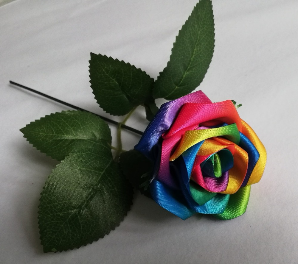 Rainbow Colour Rose Flowers Handmade Silk Satin Rose Flowers Wedding Bridal Bouquet Home Decoration  Wedding Flowers