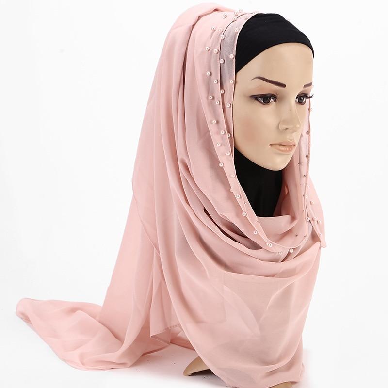 2019 New Summer Ladies Pink Red Plain Chiffon Pearl Beaded Hijab Scarf Echarpe Women Palestine Muslim Head Hair Scarfs Bufandas in Women 39 s Scarves from Apparel Accessories